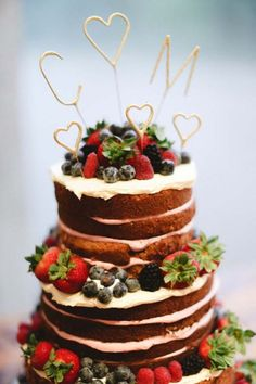 Chocolate Wedding Cake Inspiration, berries, tiered naked cake, fall wedding cake ideas