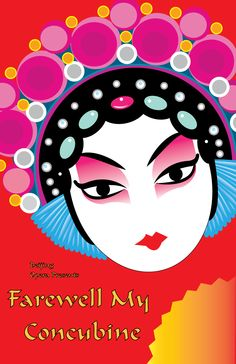 """This is my opera poster for """"Farewell My Concubine"""" a Beijing Opera piece. I used primary colors and different tints of primaries. I picked a font that made me think of Chinese letters. Chinese Painting, Chinese Art, Drawing For Kids, Art For Kids, Chinese Opera Mask, Graphic Illustration, Graphic Art, Mask Drawing, Masks Art"""