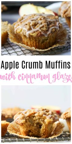 Whole Wheat Apple Crumb Muffins - easy homemade muffins, 100% whole wheat, fluffy and moist, made with fresh chopped apples, and lots of warm spices like cinnamon and nutmeg. Topped with a brown sugar streusel topping for an easy healthy breakfast treat this Fall!