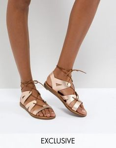 8b6bce2c8964 Золотисто-розовые кожаные сандалии на шнуровке Office Saffy Lace Up Sandals