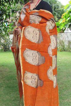 Gorgeous Hand Painted Kalamkari Chanderi Dupatta
