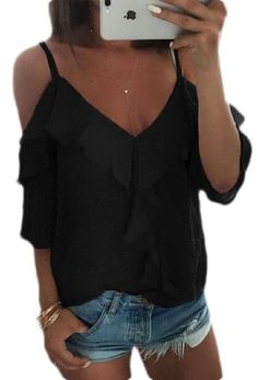 Abeaicoc Womens Casual Short Sleeve Summer V-Neck Crop Top Blouse T-Shirt