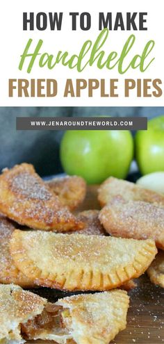 My family loves these easy handheld fried apple pies I make every year. They are great to take on trips, park dates and more Apple Hand Pies, Apple Slab Pie, Fried Apple Pies, Mini Apple Pies, Fried Apples, Pecan Pies, Köstliche Desserts, Delicious Desserts, Dessert Recipes