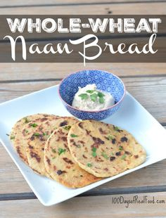 """Making whole-wheat naan bread was so fun! I found a reliable white flour recipe and made all the right modifications for this to be """"real"""" and still yummy. Recipes With Naan Bread, Healthy Bread Recipes, Low Carb Dinner Recipes, Flour Recipes, Cooking Recipes, Healthy Breads, Atkins Recipes, Pastry Recipes, Diet Recipes"""