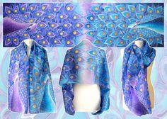 Silk scarf Peacock - for sale by MinkuLul.deviantart.com on @DeviantArt
