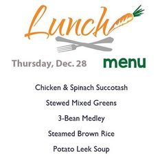 Come in from the cold with a warm delicious meal from the CoOp! Here's today's lunch menu served from 11-2.