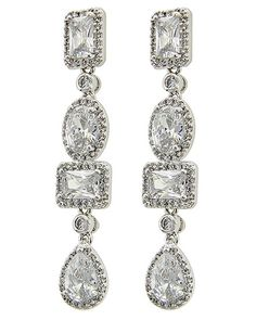 Rhodiumized / Clear Cubic Zirconia / Lead&nickel Compliant / Post / Dangle / Bridal / Prom / Earring Set