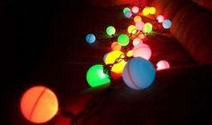 LED lights meet pingpong balls ... pingpong balls meet LED lights.