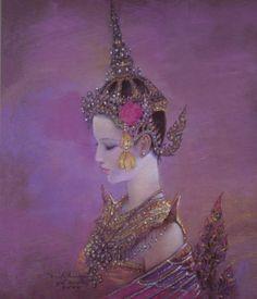 ภาพเขียน กินรี ศิลปิน อาจารย์ จักรพันธุ์ โปษยกฤต 2542