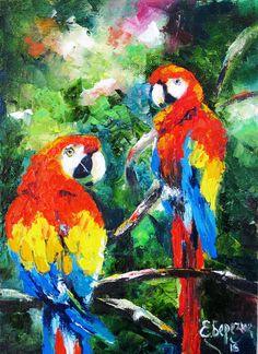 Palette knife Tropical painting decor Bird animal painting on canvas Bird lover gift Tropical wall art oil canvas painting Tropical gift art