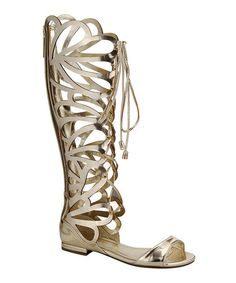 Take a look at this Gold Solo-05 Gladiator Sandal by Breckelle's on #zulily today!