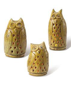 Pear Owl Garden Lantern Set by Foreside #zulily #zulilyfinds