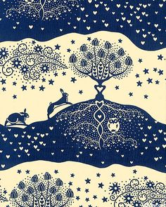Land of Joy - Silhouette Landscape - Navy Blue
