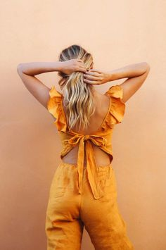 The HAVANA Jumpsuit is the more playful version of our best-selling MASALA Jumpsuit. Ruffled straps and a flirty back tie give it a feminine touch. Thanks to its breezy linen fabric, it will keep you cool and fresh even in hotclimates. Cool Summer Outfits, Pretty Outfits, Cool Outfits, Fashion Outfits, Womens Fashion, Casual Summer, Gothic Fashion, Dress Outfits, Girl Fashion