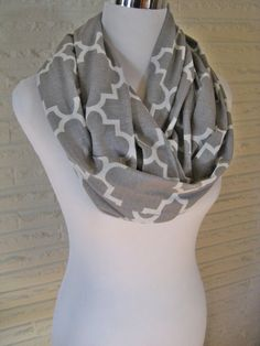 LONG Gray Grey and White Quatrefoil Infinity Scarf by ChevronScarf