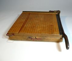 """vintage photo PAPER CUTTER - wooden 13"""" maple top - large ingento number 4 - so industrial"""