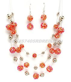 """SILVER NECKLACE RED RESIN BEADED EARRING NECKLACE SET 18"""" #FASHIONJEWELRY #Chain"""