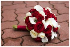 Red and White Rose Wedding Bouquet with Calla Lillies