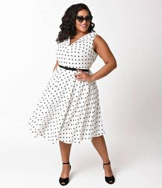 Doris is the glamorous girl next door, darling! A divinely dedicated plus size vintage style from Unique Vintage, the Doris Swing Dress is a pristine 1950s inspired frock! Crafted in a dashing textured crepe, this radiant white piece is dotted with black