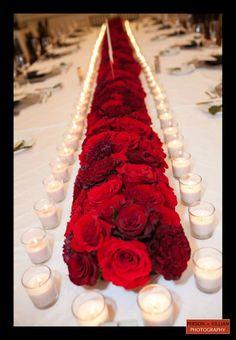 wedding center piece red flower arrangements