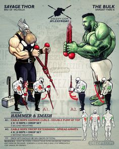 arm superset: thor hammer curls & hulk tricep extensions