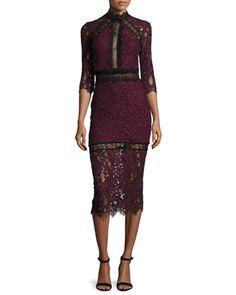Marisa+Half-Sleeve+Lace+Midi+Dress,+Plum+by+Alexis+at+Bergdorf+Goodman.