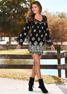 Define the gypsy in you! Venus printed lace detail dress with Venus knotted slouchy boot.