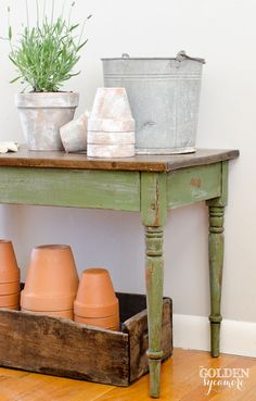 Distressed Green Painted Table :: Green Milk Paint painted over Blue Gray. Distressed, Sanded to produced chipped age look. by Allison - The Golden Sycamore blog