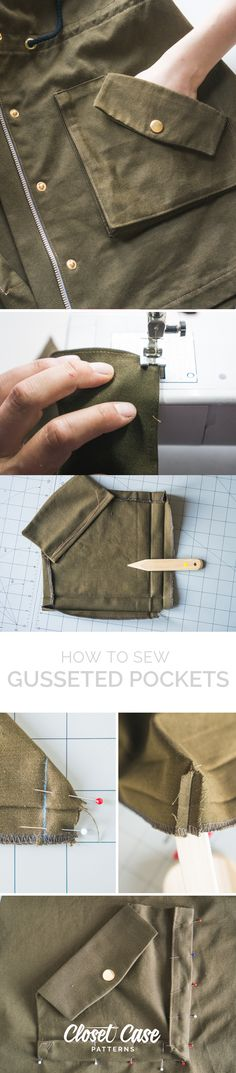 How to sew roomy 3D gusseted pockets for the Kelly Anorak! http://closetcasefiles.com/sew-gusseted-pockets-kelly-anorak/