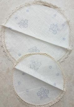 Stamped Embroidered Doilies in Cream Linen with Flowers (Set of Doilies, Cross Stitch Embroidery, Quilt Blocks, Stamp, Quilts, Cream, Flowers, Comforters, Chowder