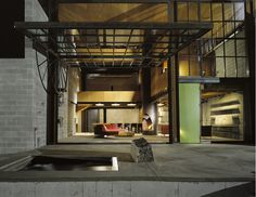 """Tom Kundig... Interesting take on indoor/outdoor space and access to it through an old fashioned """"garage door"""""""