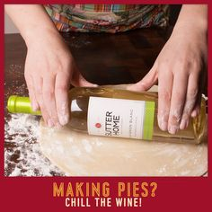 Using a chilled wine bottle instead of a rolling pin helps keep the #dough cold as you roll out your #pie crust. Just give the bottle a quick wipe to remove any condensation, dust it with flour, and roll away!