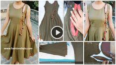 Trending kurti cutting and stitching with designer neck - ArtsyCraftsyDad Kurti Neck Designs, Kurtis, Indian Wear, Party Wear, Stitching, Sewing, Blouse, How To Wear, Dresses