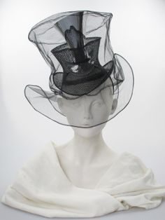Black 'Triple Vision' tulle, net and metal nesting top hats on a hairband (front view) Caroline Reboux, Fascinator Hats, Fascinators, Steampunk Top Hat, Stephen Jones, Race Wear, Fancy Hats, Love Hat, Hat Making