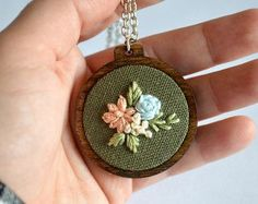Wildflower Embroidery Necklace Hoop Art Jewelry by BreezebotPunch