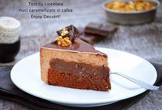 Tort cu ciocolata, nuci caramelizate si mousse de cafea Something Sweet, Mousse, Cake Recipes, Recipies, Cheesecake, Pudding, Ice Cream, Candy, Cooking