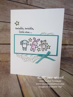 Sweet baby card made with Moon Baby stamp set, Lace Doilies and Watercolor Pencils (available in the 2017 Occasions Catalog)…#stampyourartout - Stampin' Up!® - Stamp Your Art Out! www.stampyourartout.com