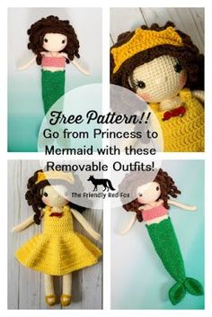 Why choose if you want a princess or a mermaid doll?? Why not have BOTH?! This crochet mermaid edition to the Princess Sophie doll allows yo...