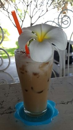 iced cappuccino by the beach