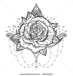 Blackwork tattoo flash. Rose flower. Highly detailed vector illustration isolated on white. Tattoo design, mystic symbol. New school dotwork. Boho design. Print, posters, t-shirts and textiles.