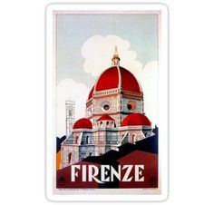 Florence Firenze 1920s Italian travel ad, duomo Stickers