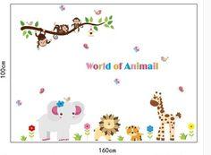 Muursticker safari dieren mix