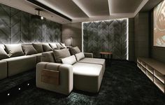 A luxury home theatre looking very moody and sporting plush home theatre seating. This uses recliner seating that is like no other.