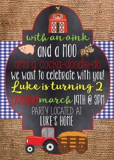 Tractor Farm Birthday Party Invitation Big guys Tractor and