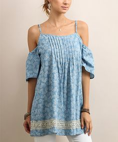 Another great find on #zulily! Light Blue Paisley Off-Shoulder Tunic #zulilyfinds