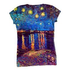 "Amazon.com: ArtsyClothingCo- Vincent Van Gogh - ""The Starry Ni...-Tagless- Ladies Shirt 1479: Clothing"