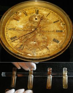 A chronometer from the bridge of the Titanic on display at the Science Museum in London, May 15, 2003. The chronometer, one of more than 200 artifacts raised from the wreck of the Titanic, was on display at the launch of a new exhibition commemorating its ill-fated maiden voyage along with vials of perfume oil. The exhibition took visitors on a chronological journey through the life of the Titanic, from its conception and construction, to life on board and its sinking in the Atlantic in…