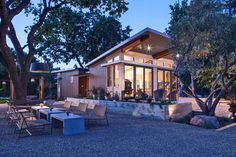 The home incorporates a high level of smart house technology. Sensors control HVAC, irrigation, security and lighting systems. Photo 5 of 6 in Napa, California, by Stillwater Dwellings Prefabricated Houses, Prefab Homes, Modular Homes, Tiny Homes, Stillwater Dwellings, B Architecture, Outdoor Spaces, Outdoor Decor, Outdoor Dining