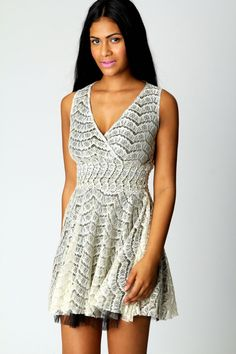 Heidi Lace Wrap Over Detail Dress