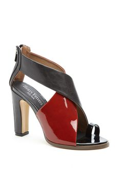 Nice thick heel, love the two tone and smooth/shiny look to this sandal.